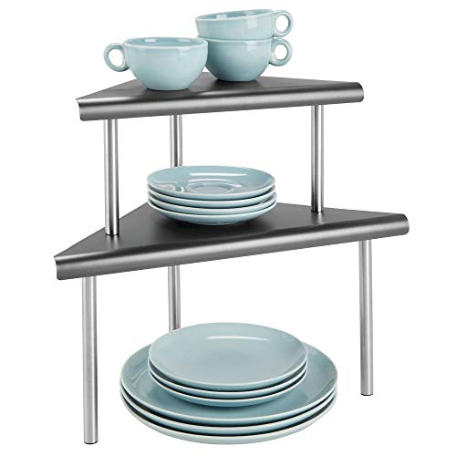 mDesign Modern Metal 3-Tier Kitchen Countertop and Pantry Cabinet Corner Storage Shelf Organizer Stand for Storing Mugs, Bowls, Spices, Baking Supplies - Free Standing, 2 Shelves - Charcoal Gray