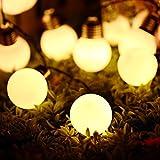 H+K+L 10LED Solar Powered Environment-Friendly String Light Bulb String Lamp Beads Wedding Party Fairy Decor (Warm White, A)