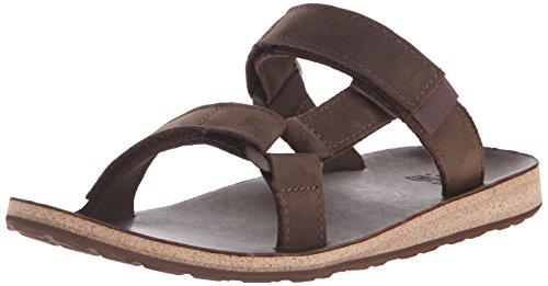 Sandalo Teva Mens Universale In Pelle Con Scivolo Marrone