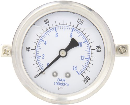 PIC Gauge S203L-254G Glycerin Filled Industrial U-Clamp Panel Mount Pressure Gauge with Stainless Steel Case, Brass Internals, Plastic Lens, Single Scale, 2-1/2