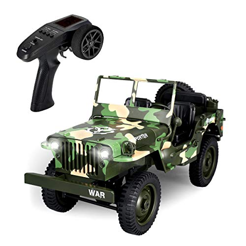 RC Cars for Adults, EACHINE EC01 Off-Road Car RC Military Truck Jeep 1:10 2.4G 4WD 15KM/ H Camouflage Military Truck High Speed Drift Racing Car Hobby Car Gifts for Boys 5-15 Year Olds (Car Rc Drift 1 10)