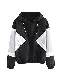 Women Jacket Fashion Long Sleeve Color Block Patchwork Zipper Sport Coat Outwear