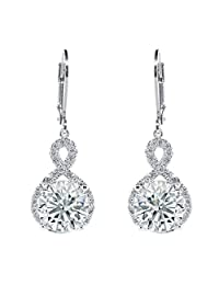 Cate & Chloe Alessandra 18k White Gold Infinity Halo Drop Earrings, Silver CZ Crystal Dangle Earrings Round Diamond Cubic Zirconia Earring Set Special-Occasion-Jewelry