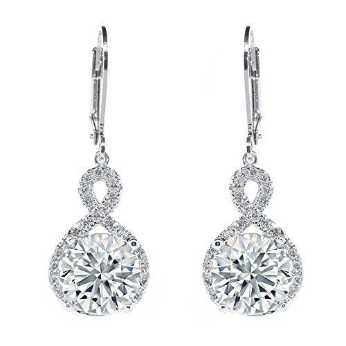 Cyber-Monday-Sale-2017, Holiday-Deals, Sales - Cate & Chloe Alessandra ''Vision'' 18k White Gold Plated Drop Earrings, Crystal, Halo, Round Solitaire Earring by Cate & Chloe