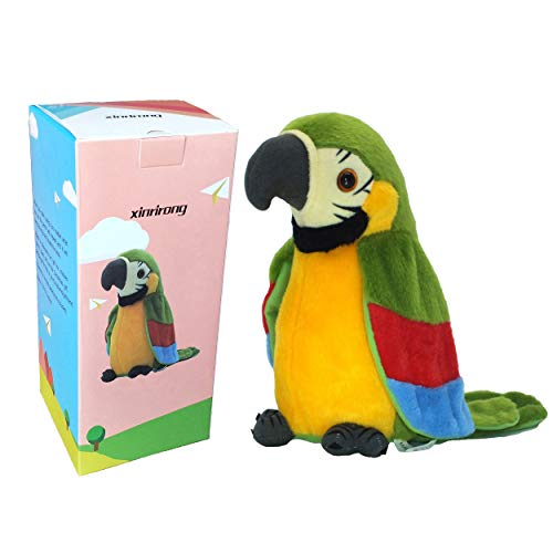 Bird Doll - TTalking Parrot No Matter What You Say Will Repeat What You Say Funny Learning Good Helper Bring You Happiness!Parrot toys! Speaking parrot.Talking Parrot Funny Pronunciation Electric Animal Plush Toy