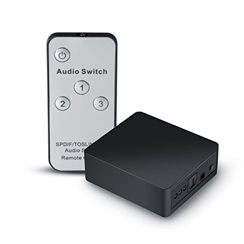 Digital Optical Audio Switch with Optical Cable Supported Dolby-AC3 DTS LPCM 2.0 for PS3 PS4 Xbox Blu-Ray Player PC to AV Amplifier Speake Neoteck 5 Port Toslink Audio Switcher with IR Remote Control