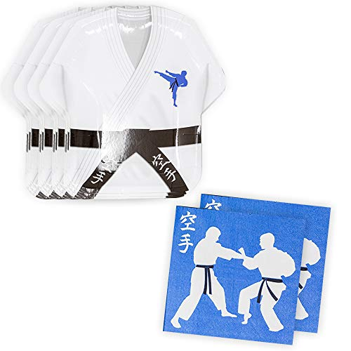 - Karate Shaped Plate & Napkin Sets (70+ Pieces for 32 Guests!), Karate Party Supplies, Martial Arts Birthday Decorations, Tableware Sets