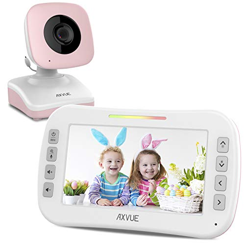 (Video Baby Monitor with Wide Screen and Night Vision by Axvue, Pink, Model E9620-P)