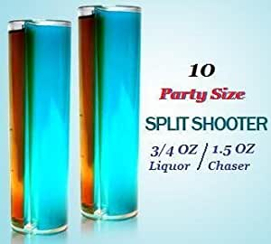 Split Shooters - Vertically Divided Plastic Shot Glasses (Party Size Split Shooter, Package of 10)