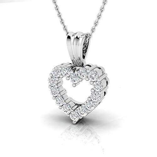 - IGI Certified 1/2 Carat Natural Diamond Sterling Silver Heart Pendant for Women with Chain (J-K Color, I2-I3 Clarity)