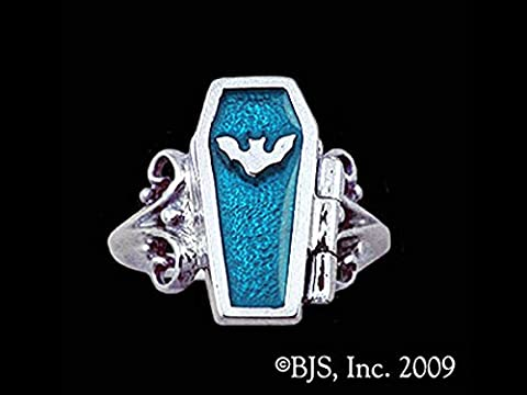 Gothic Night Bat Hidden Chamber Opening Coffin Ring with Blue Zircon Enamel in Sterling Silver (Sterling Silver Coffin Ring)
