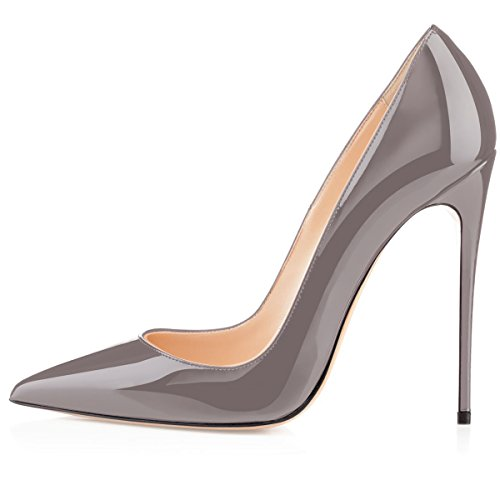 4 Eldof Pumps 72in Women's Classic Grey Toe Patent Wedding Pumps Party Heel High Dress Pointed Stilettos 12cm rcRrZqX
