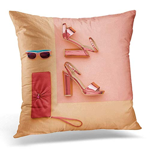 hngwkjyx Throw Pillow Cover Minimal Pastel Colorful Glamor Metallic Pink Shoes Heels Sunglasses Flat Lay Handbag Clutch Luxury Shiny Decorative Pillow Case Home Decor Square 18
