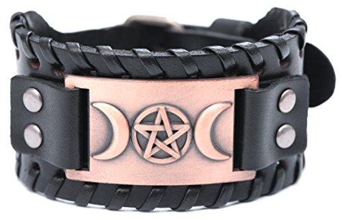 VASSAGO Vintage Pagan Triple Moon Goddess Pentacle Pentagram Metal Amulet Cuff New-style Leather Bracelet (Black Leather, Antique Copper)