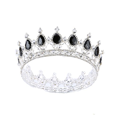 Stuff Crystal Crown Tiaras Prom Party Wedding Bridesmaid Hair Piece with Bobby Pins (Silver/Jet)]()
