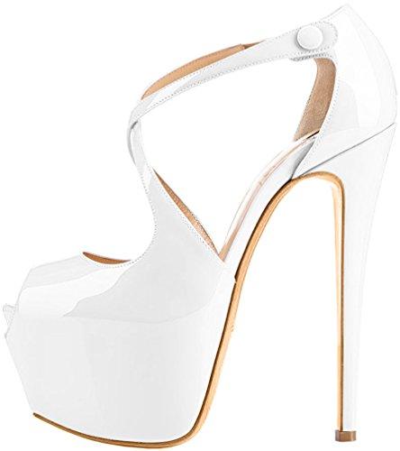 Trusify Mujer 16cm EU tamaño 34-46 Trucrack Tacón de aguja 16CM Sintético Sandalias de vestir Blanco