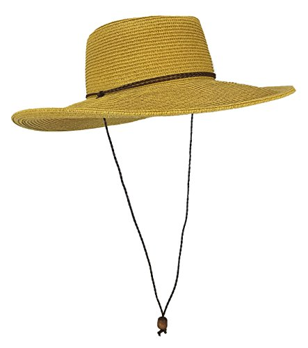 Sun Protection Cowboy (Straw Gambler Bolero Cowboy Hat, Packable Wide brimmed Cap With Braided Chin Strap (Natural))