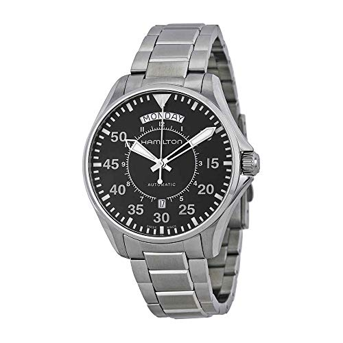 Date Swiss Automatic Watch - Hamilton Men's 'Khaki Aviation' Swiss Automatic Stainless Steel Dress Watch, Color:Silver-Toned (Model: H64615135)