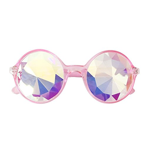 VIASA Girls Sunglasses Kaleidoscope Beach Glasses Rave Festival Party EDM Sunglasses Diffracted Lens Colorful Club Cute Sunglasses Patent Glasses (Sakura Pink - What For Of Glasses Type Lenses