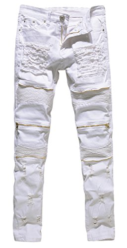 Men's Vintage Distressed Ripped Biker Moto Denim Pants Slim Fit Zipper Jeans
