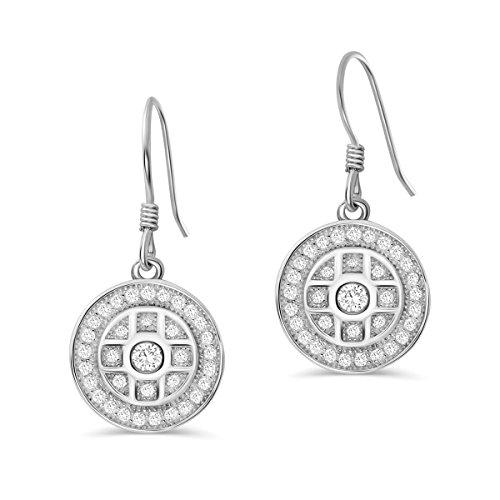 PRJewel 925 Sterling Silver Pave CZ Drop Earrings