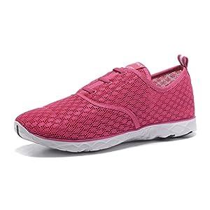 Kenswalk Women's Aqua Water Shoes Lightweight Slip On Walking Shoes (8.5 B(M) US, Rose Red)