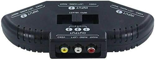 Murakush オーディオビデオコンバーター AVスイッチャー RCAスイッチャースプリッター 3ウェイ 3 in 1 RCAケーブル付き オーディオビデオAVセレクター