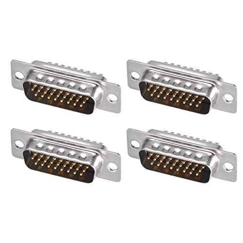 uxcell D-sub Connector Male Plug 26-pin 3-Row Port Terminal Breakout Solder Type for Mechanical Equipment CNC Computers Black Pack of 4