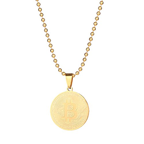 Gloa Necklaces Stainless Steel Commemorative Bitcoin Pendant Bead Chain Unisex Necklace Jewelry - ()