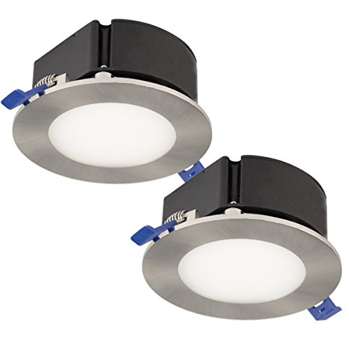 Bazz SLTB4750B2 Top Box Slim Brushed Chrome Integrated LED Recessed Fixture Kit (2-Pack), 4