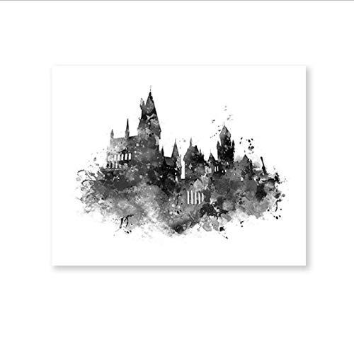 yhnjikl Acuarela Castillo de Hogwarts Arte Lienzo Pintura ...