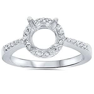 1/4ct Pave Diamond Halo Mount Engagement Ring Setting