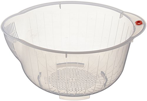- Inomata Japanese Rice Washing Bowl with Side and Bottom Drainers, Clear