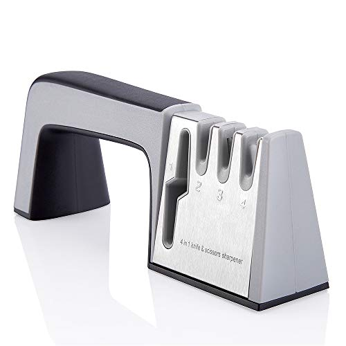 Kadora Best 4 in 1 Multipurpose Kitchen Knife Sharpener with Diamond, Tungsten Steel, Ceramic Stone design. Safe and Easy to Use.