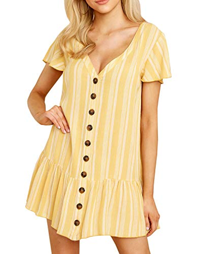 Valphsio Womens V Neck Button Down Ruffle Hem Short Sleeves Tunic Mini Dresses (Large, 1-Yellow)