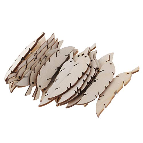 Simdoc 25pcs Feather Shape Unfinished Wood Slices Predrilled with Hole Blanks Discs Bulk Wooden Feather Embellishment for DIY Craft Wedding Decor