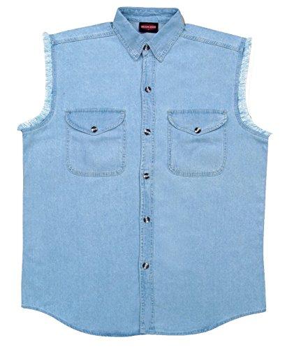 MILWAUKEE PERFORMANCE Men's Denim Sleeveless Shirt (Front Button Jersey Sleeveless Performance)