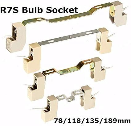 78//118//135 189MM 4A R7S C/éramique Support de lampe Douille Support de lampe Conveter Connecteur pour ampoule /à projecteur avec c/âble de 15 cm-Blanc 78Mm