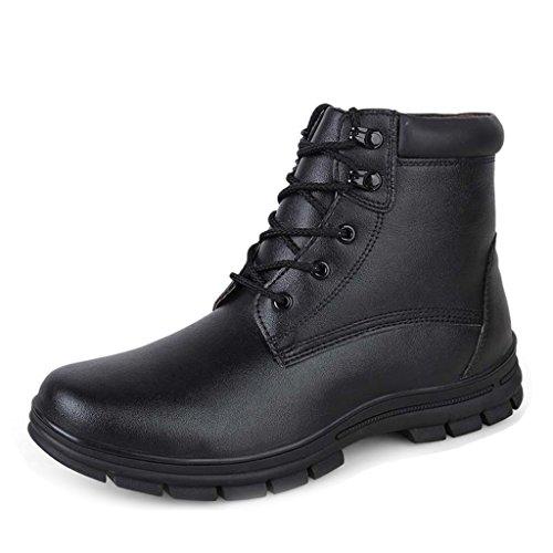 Bull Titan Menns Glatt Skinn Vinter Combat Boots Black