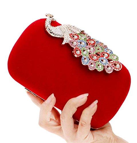 Sac Dames Exquis Soirée Paon Wybxa Diamants Incrusté Banquet Polyvalent De Élégant Red 8Fd8xq