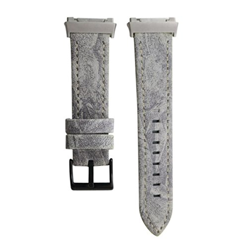 Sopety Classic Leather Wristband With Metal Connectors For Fitbit Ionic - Ban Gray