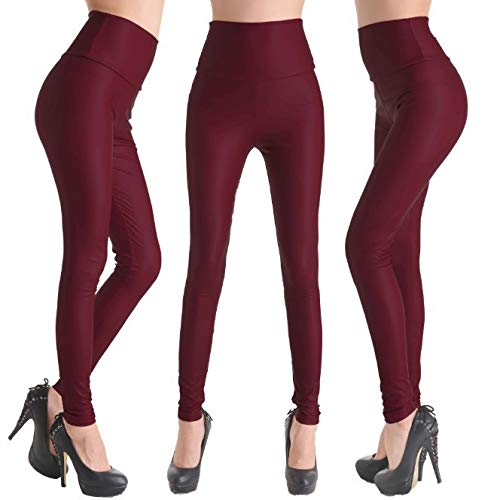3 Purplish Red(order a size up) RIOJOY Womens Sexy Faux Leather Leggings Skinny PU Butt Lift Bodycon Pants High Waist Trousers