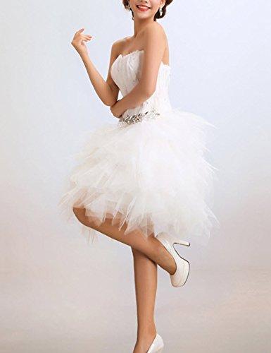 Lactraum LF4017 Kurze Damen Bandeau Cocktailkleider Schulterfreie Partykleider Abiballkleider mit Strasssteinen Pailletten Weiß OsvEARWqs