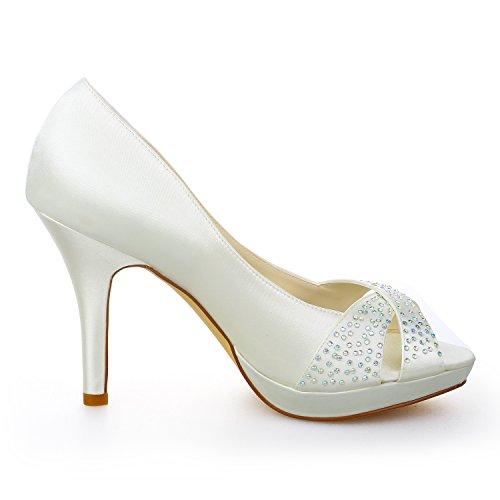 scarpe a per sposa beige 37090 sposa piattaforma Jia tacco toe décolleté peep da spillo strass raso donna in da gdwHxBqz
