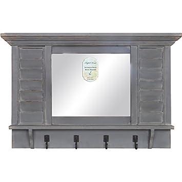 Amazon.com: Envejecido rústico de madera espejo de pared con ...