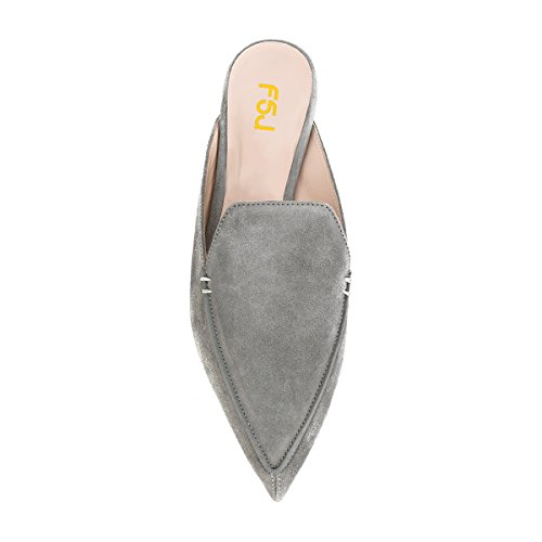FSJ Fashion Grey Women 15 US Pointy On Low Heels Size Toe Sandals Shoes Faux 4 Suede Slip Casual Mules rr5wdUpx