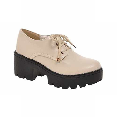 Latasa Mode Lace-up Plate-forme Chunky Oxfords Chaussures Beige