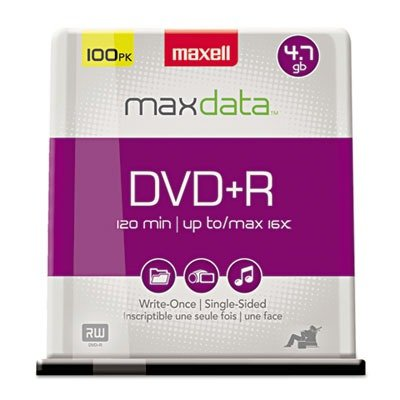 Maxell 639016 DVD+R Discs, 4.7GB, 16x, Spindle, Silver, 100/Pack by Maxell