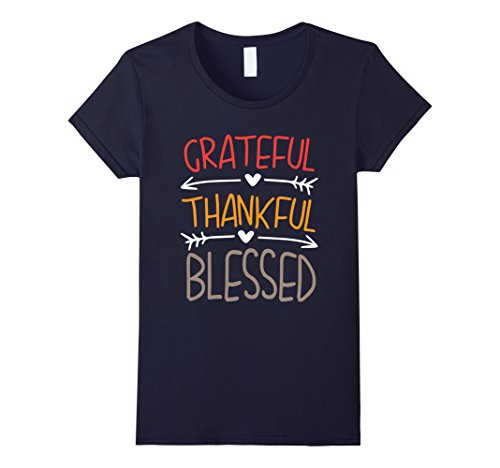 Womens Grateful Thankful Blessed Thanksgiving T-Shirt Large (Thankful Grateful Blessed)