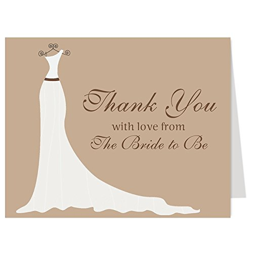 Bridal Shower Thank You Cards, Wedding Dress, Simple Gown, Gown, Shower, Chocolate, Brown, from the Bride to Be, Future Mrs., Soon to Be, Set of 50 Thank You Notes with Envelopes (Chocolate/Brown)